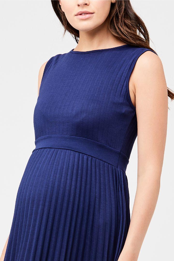 Umstandskleid mit Plisseefalten blau