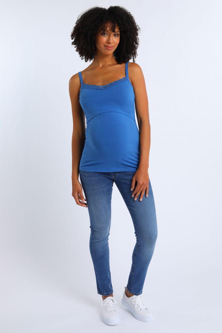 Umstands- und Stilltop mit Spitze aus Bio-Baumwolle blau