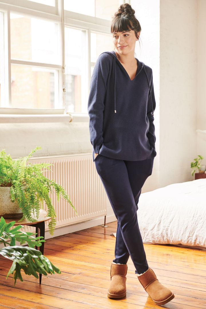 Maternity Knit Hoodie navy