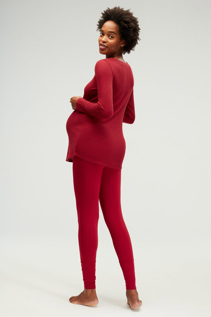 Lounge Umstands- und Stillpyjama aus Waffelstrick rot