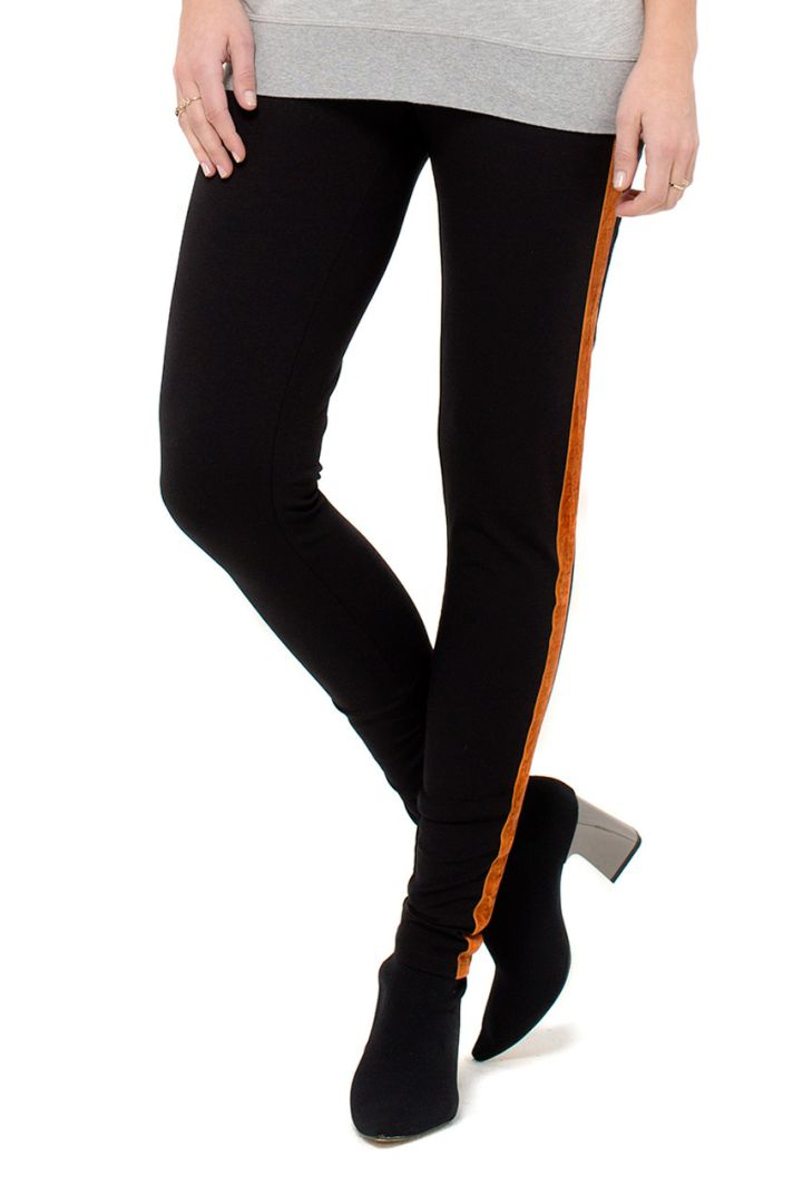 Meternity Trousers with Velvet Stripes