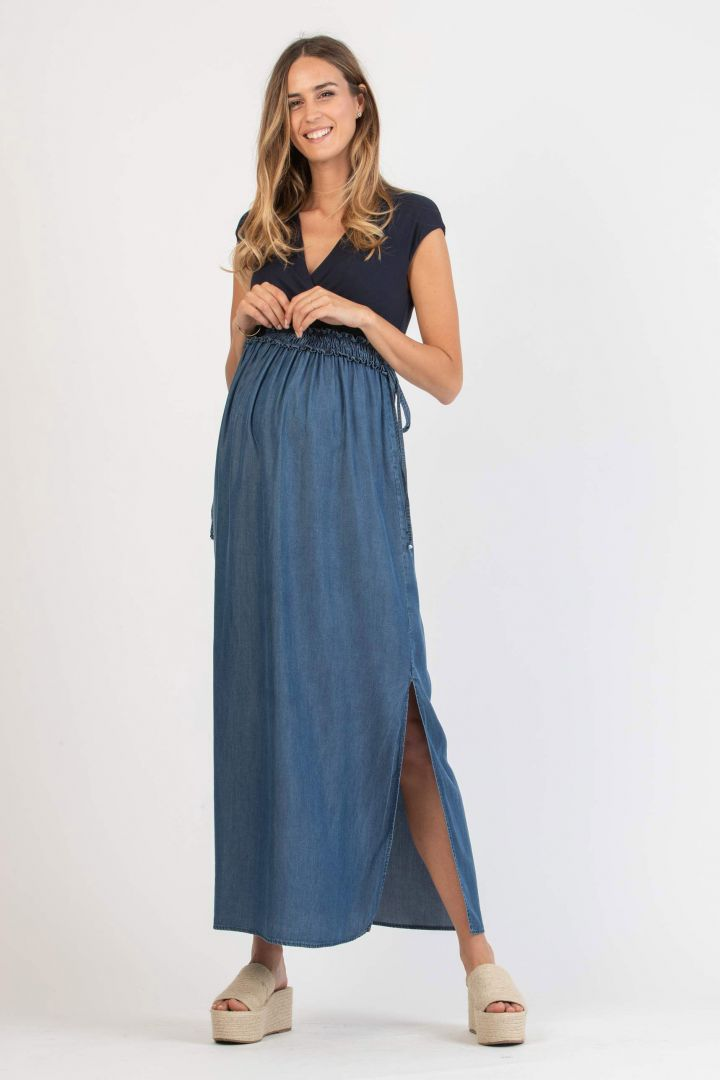 Maternity and Nursing Dress with Denim Skirt