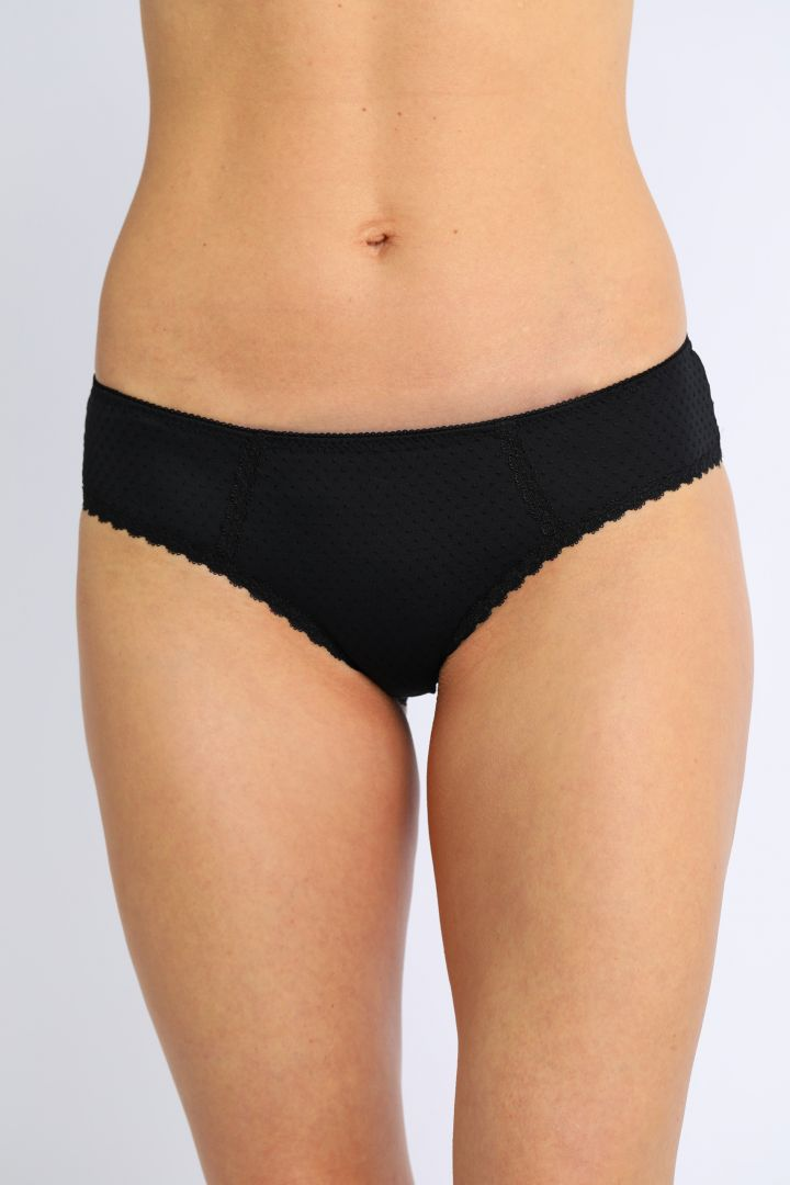 Maternity Brief with Polka Dots and Lace Hem black