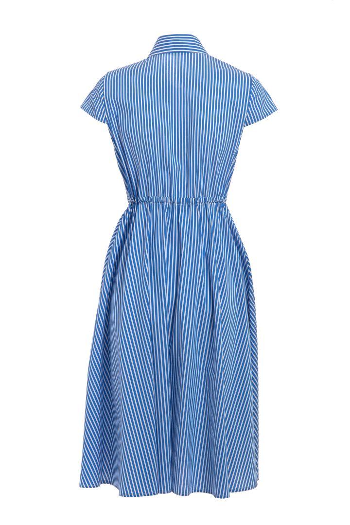 Umstands- und Still-Hemdblusenkleid gestreift blau
