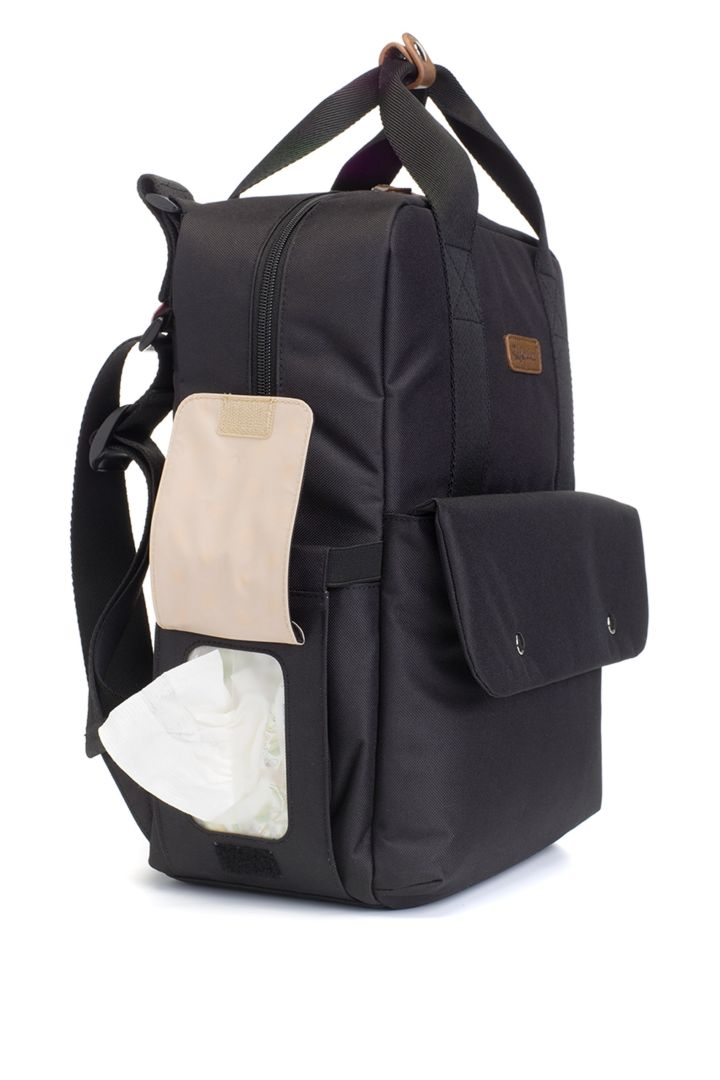 Georgi eco baby-changing backpack in black