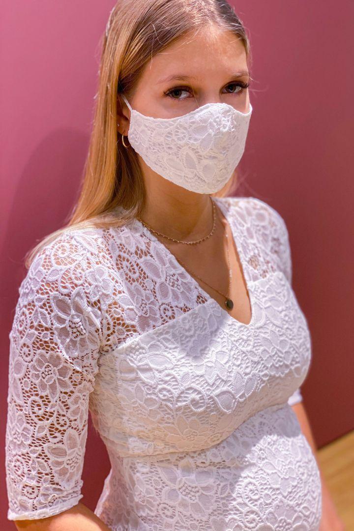 Braut Mundschutzmaske aus Blumenspitze mit Armbeutel