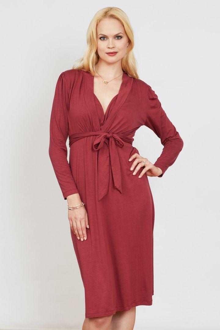 Umstands- und Stillkleid mit Gürtel rot