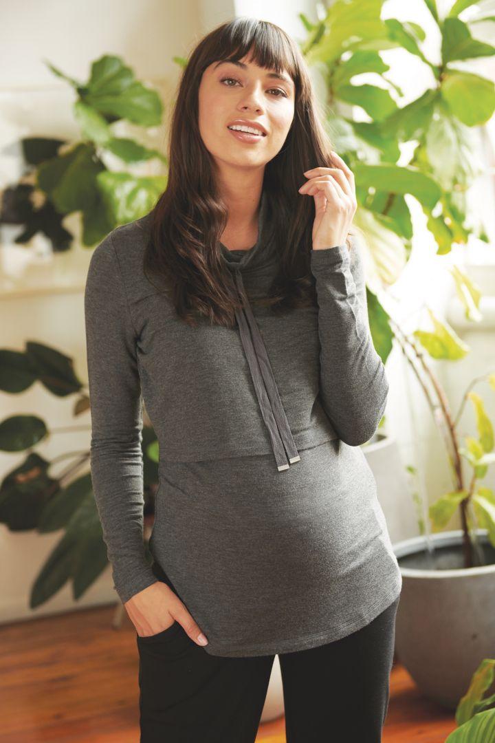 Maternity and Nursing Hoodie with Zip Fastenings grey