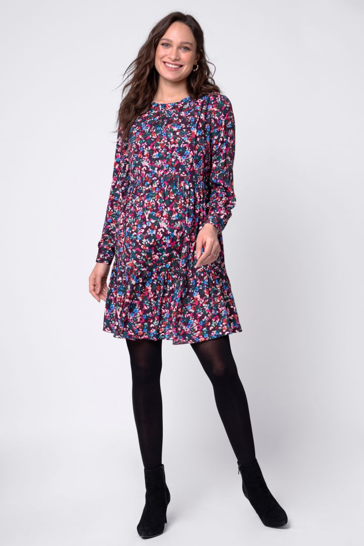Flounce Maternity and Nursing Dress with Floral Print