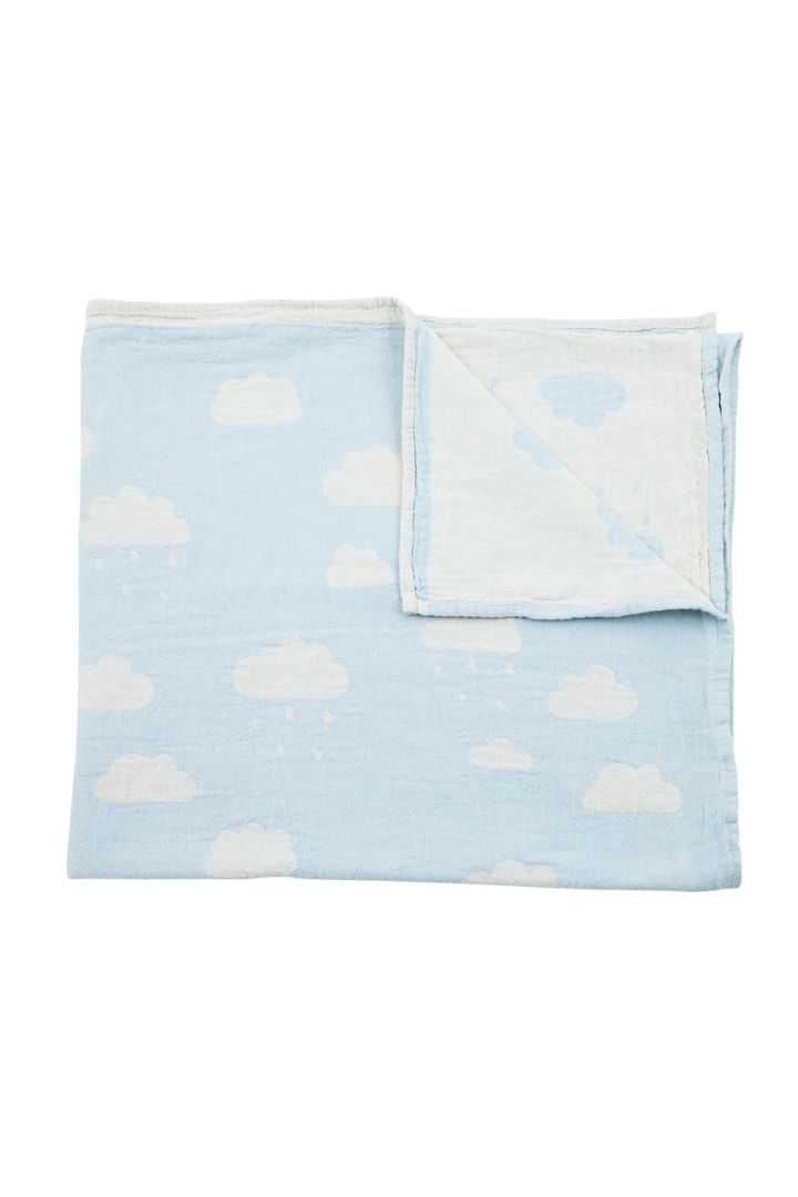 Babydecke Wolken hellblau 160x90cm