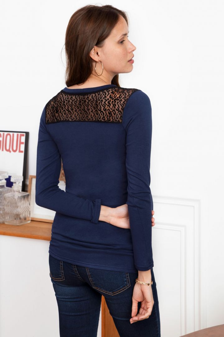 V-Neck Maternity Jumper with Lace Inserts