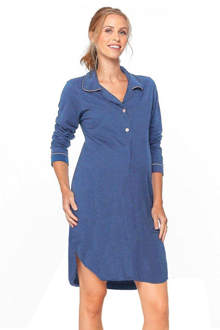 Umstands- und Stillnachthemd zum Knöpfen blau