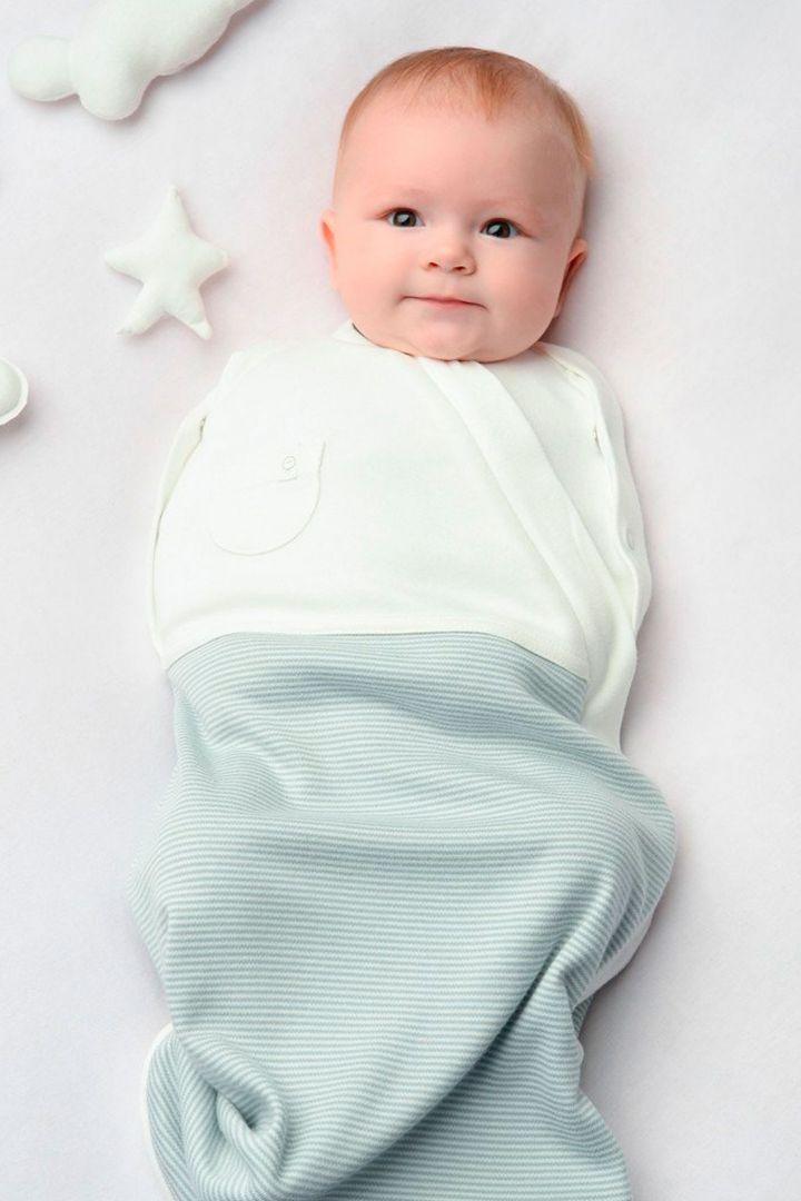 Organic striped sleeping bag and swaddle bag light blue