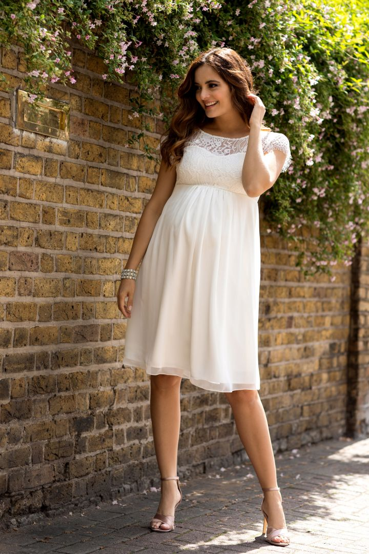 Maternity Wedding Dress with Lace Bodice ivory