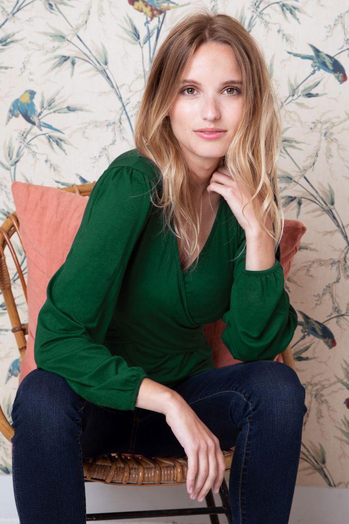 Umstands- und Stillshirt mit Puffärmeln dunkelgrün
