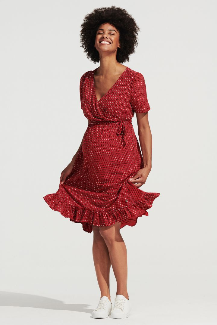 Maternity and Nursing Dress with Flounce red