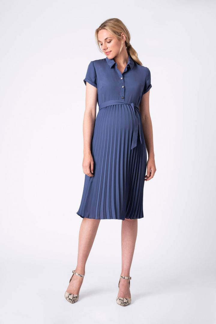 Maternity and Nursing Pleated Shirt Dress