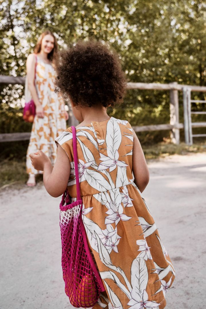 Organic Mini Me Dress with Flower Print