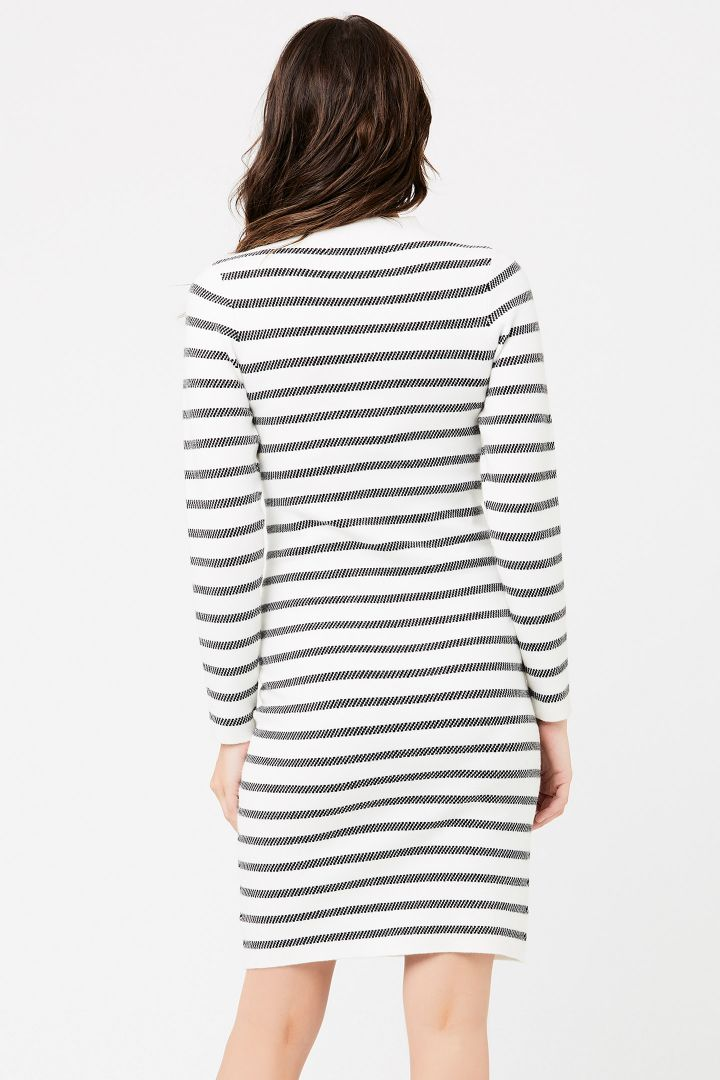 Jacquard maternity dress with stand-up collar