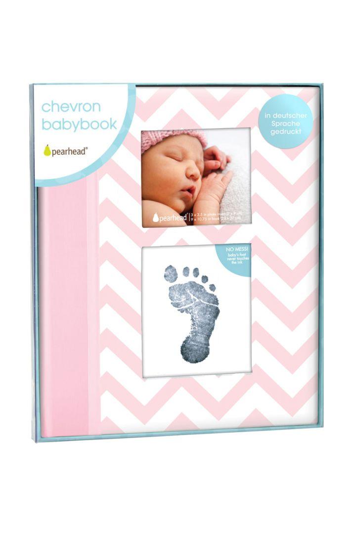 Erinnerungsbuch mit Fototasche und Baby Abdruckset rosa