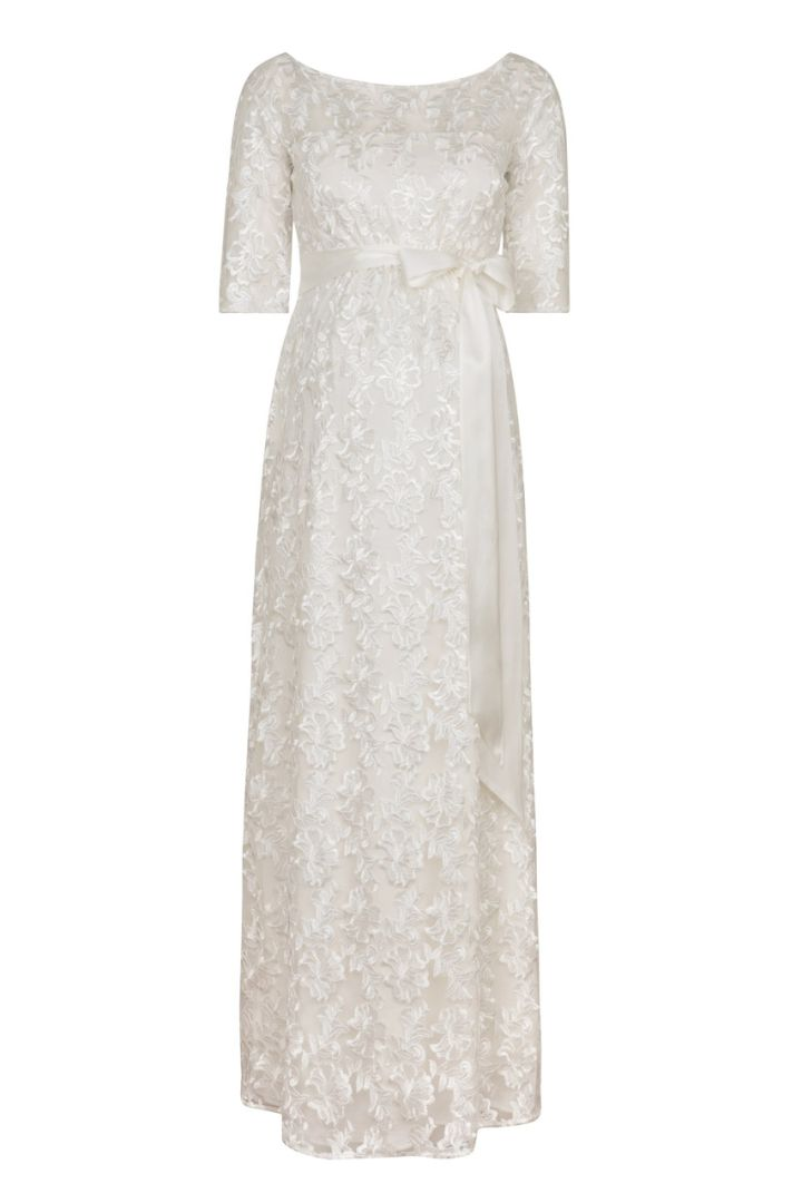 A-Line maternity bridal dress made of lace, long