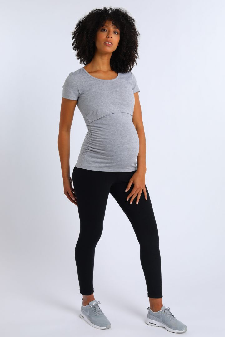 Umstands- und Stillshirt aus Bio-Baumwolle kurzarm grau