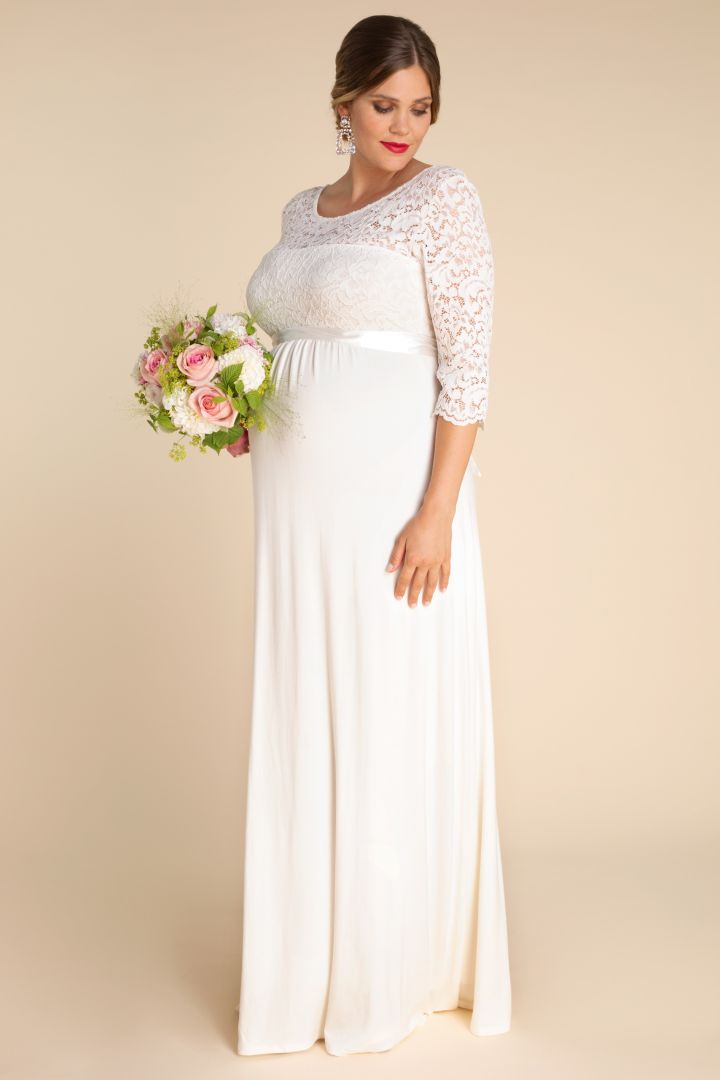 Long Plus Size Maternity Wedding Dress with Back Cut-Out