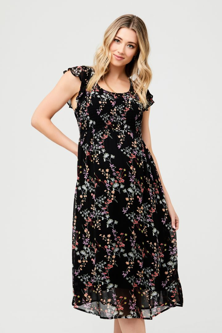 Maternity Dress with Ruffled Sleeves and Flower Print