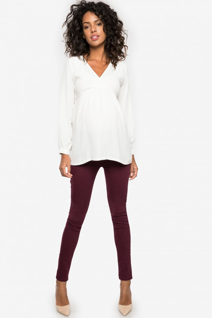 Slim Fit Maternity Trousers with Seamless Band bordeaux