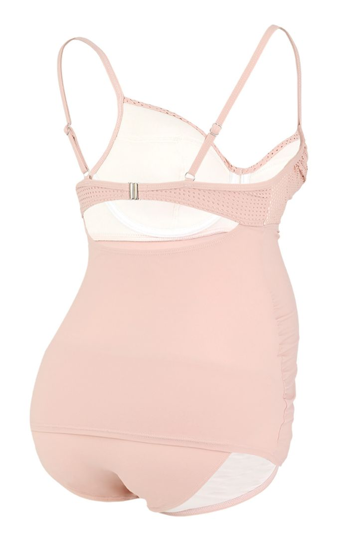 Maternity tankini with underwire cups in lace style pink