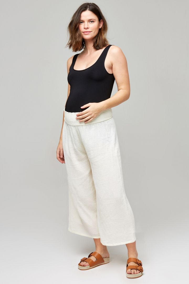 Organic Musselin Umstands-Culotte off-white