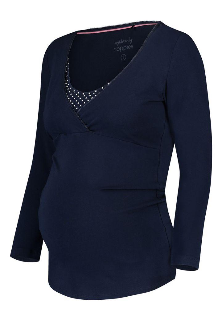 Maternity and nursing shirt made of organic cotton, navy