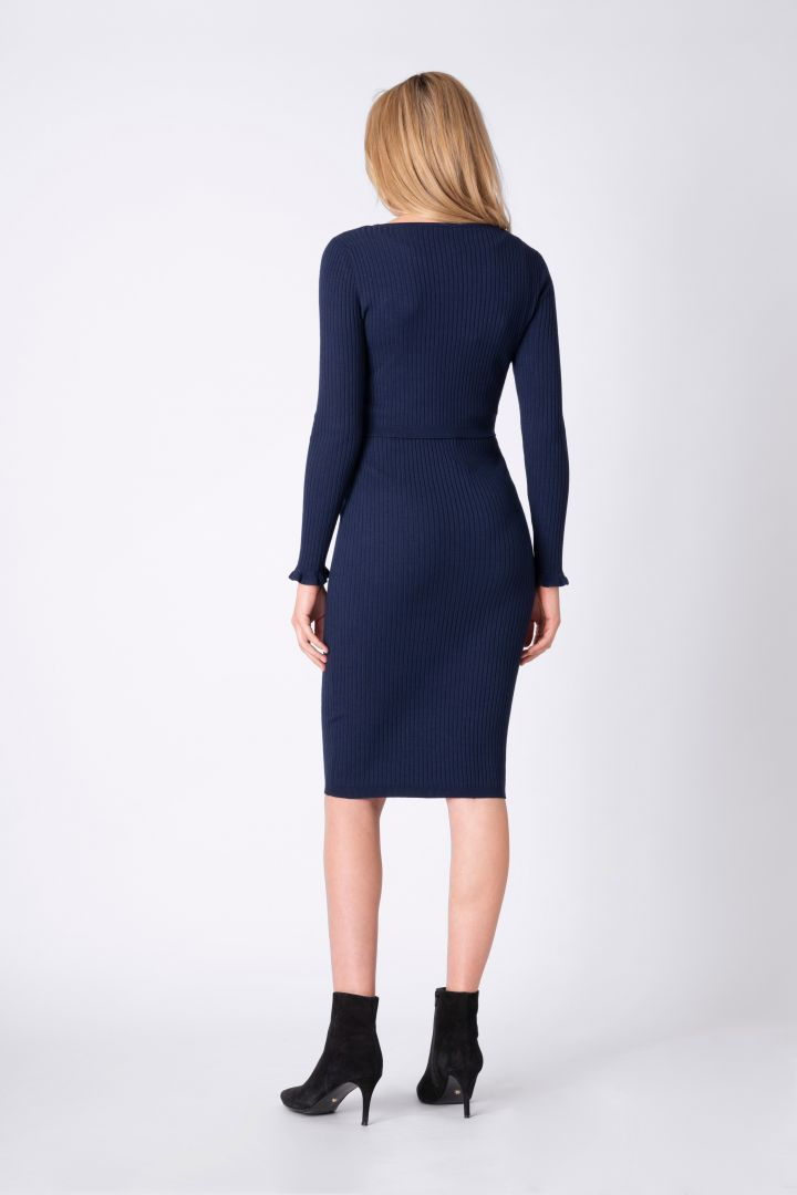 Rib knit maternity and nursing dress with boat neck
