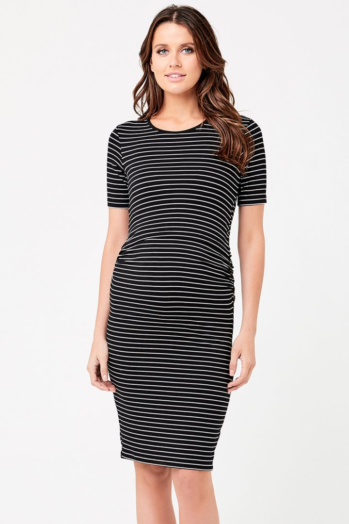 Maternity and Nursing Dress with Short Sleeves Stripes