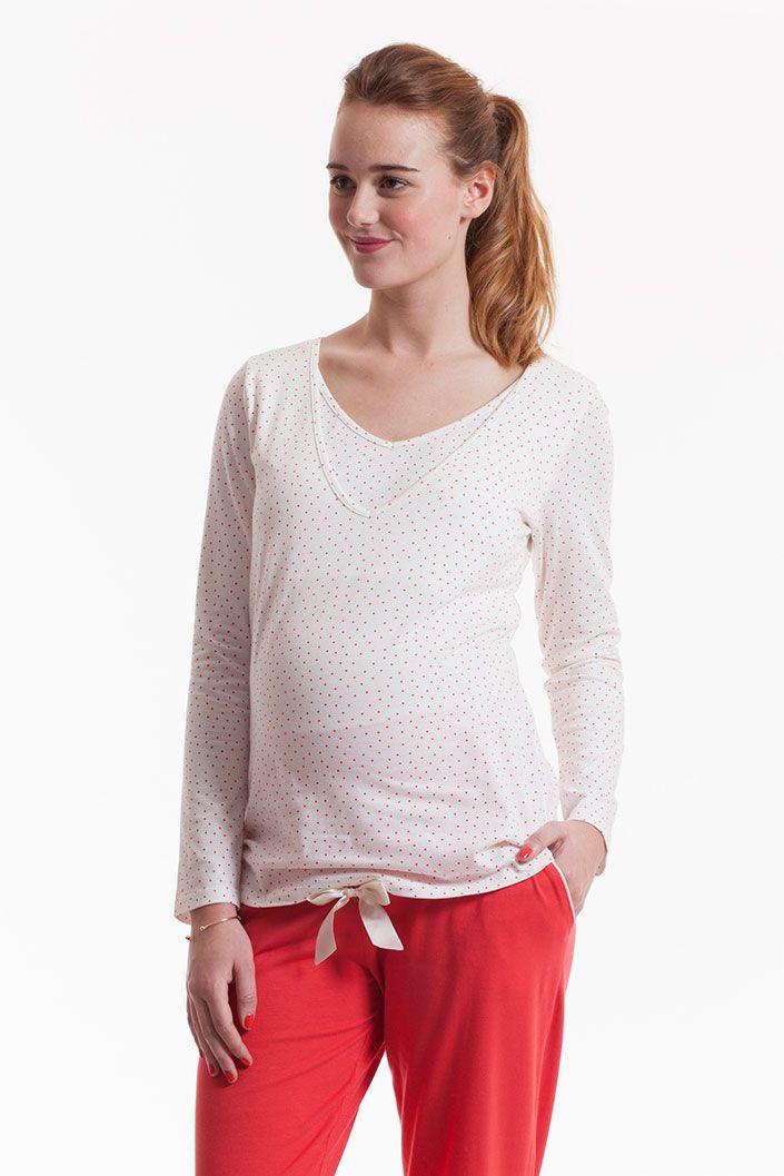 Organic Maternity and Nursing Shirt polka dots coral