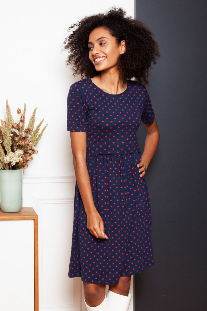 Spotted Maternity and Nursing Dress Short Seeves blue