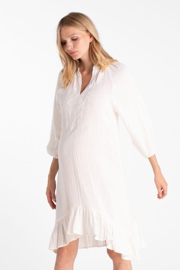 Double Cotton Boho Maternity Dress