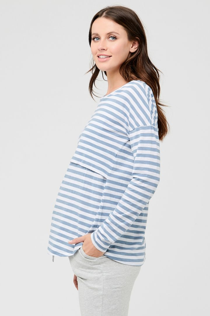 Maternity and Nursing Shirt with Stripes blue/white