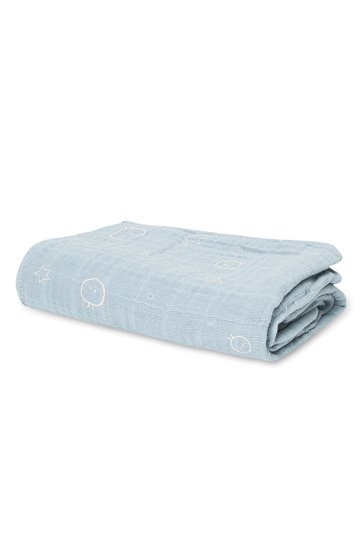 Swaddling and burp cloth blue