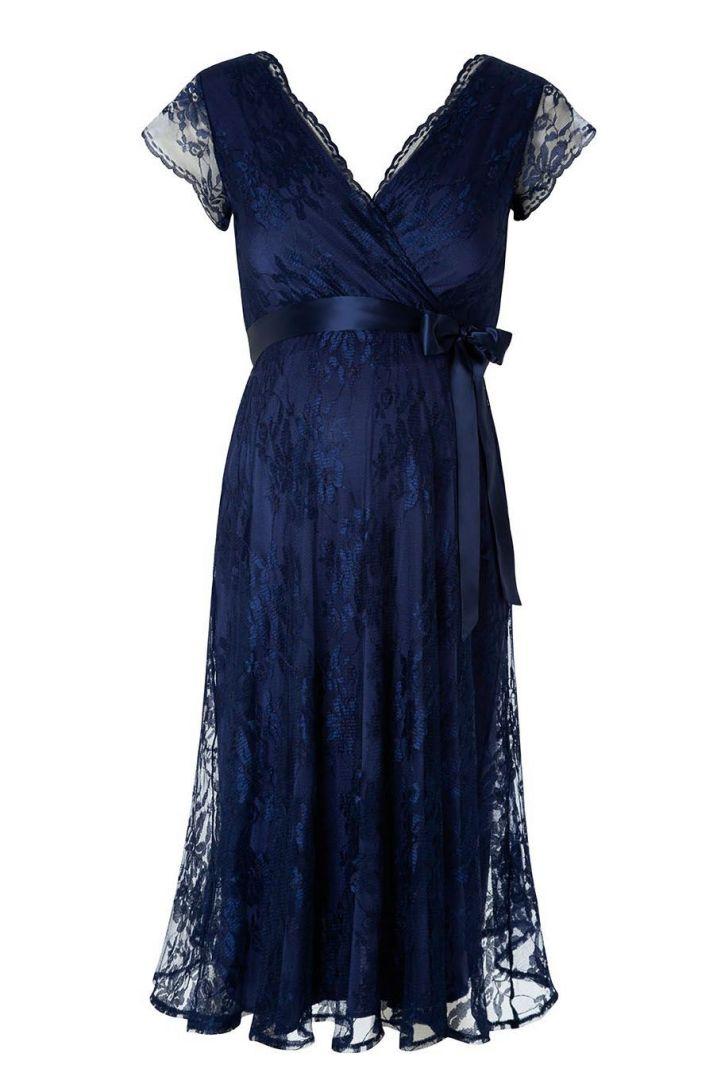 Spitzen Umstandskleid mit Cache-Coeur Ausschnitt dunkelblau
