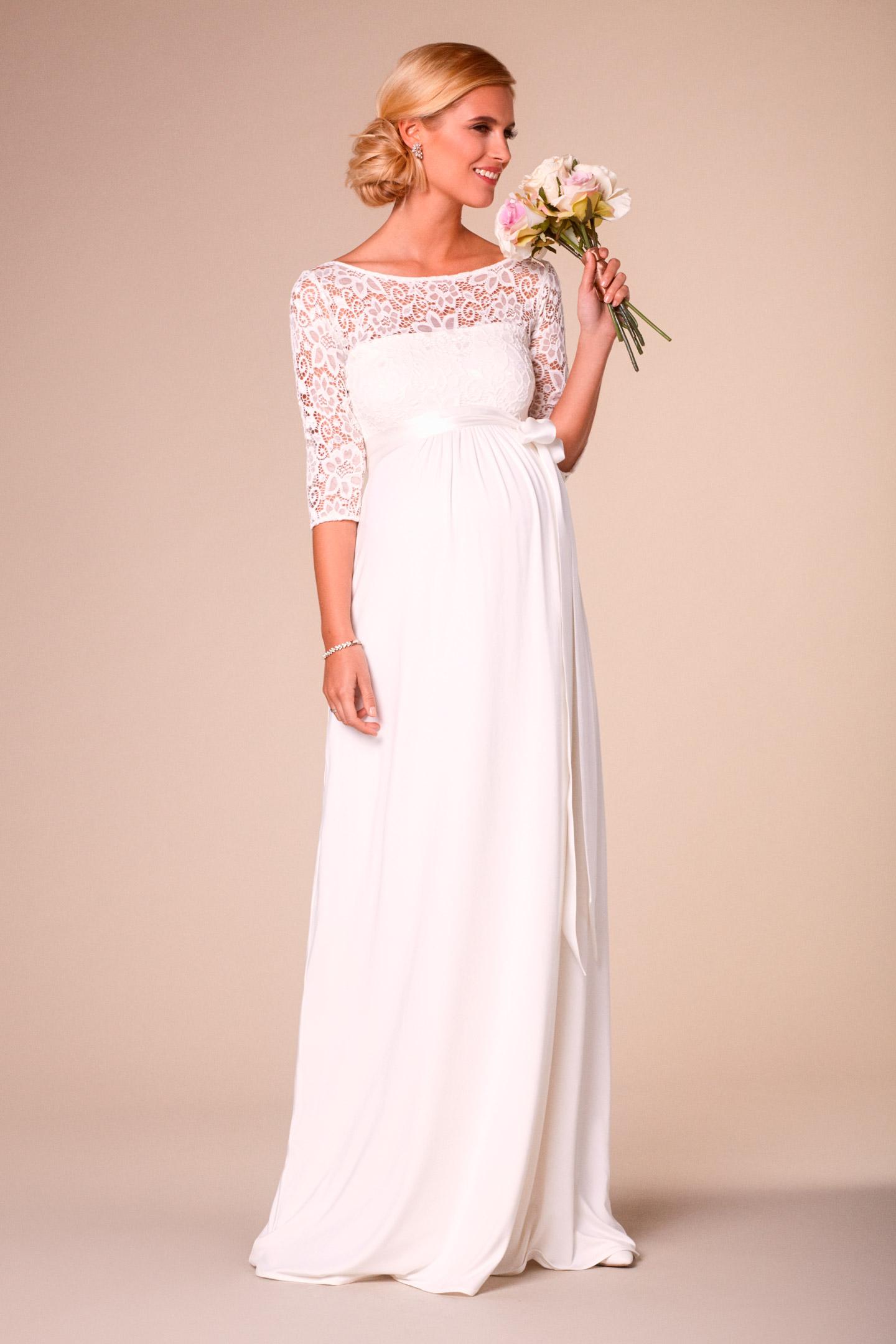 Long maternity wedding dress with open back   Long Maternity ...