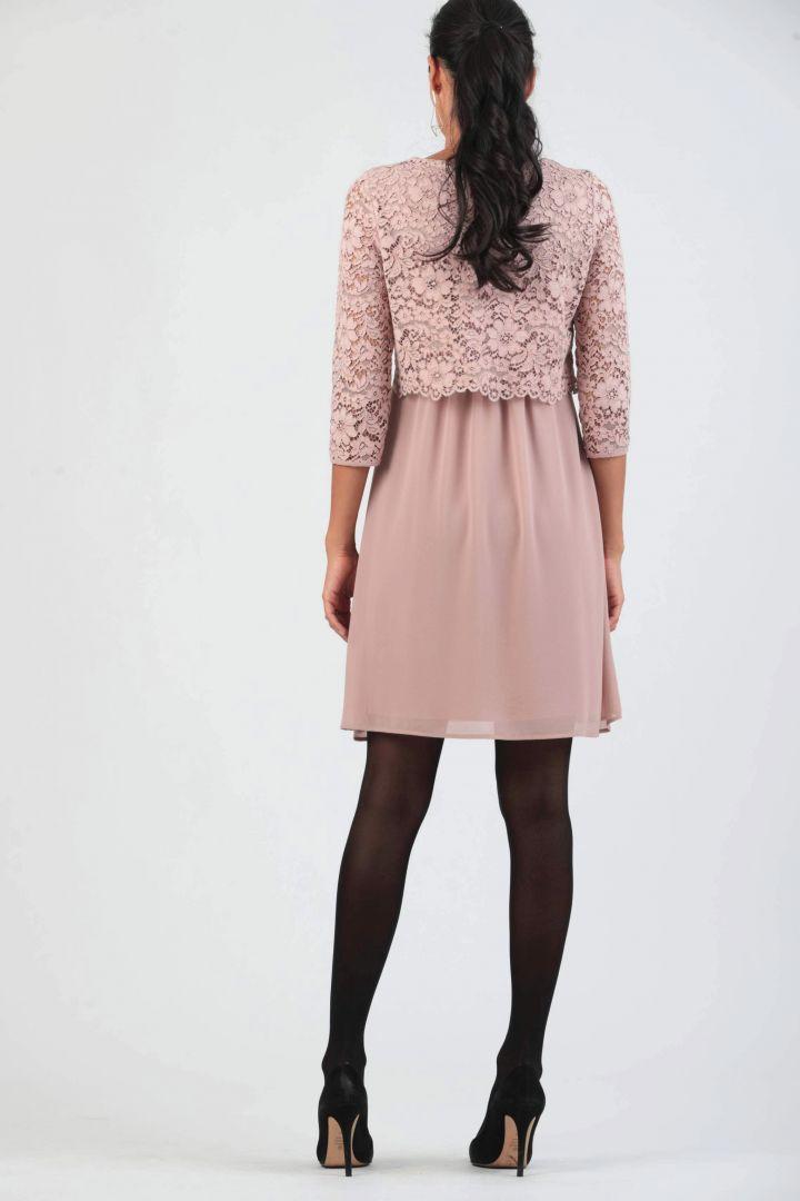 Umstandskleid mit Stillöffnung und Spitze rosa