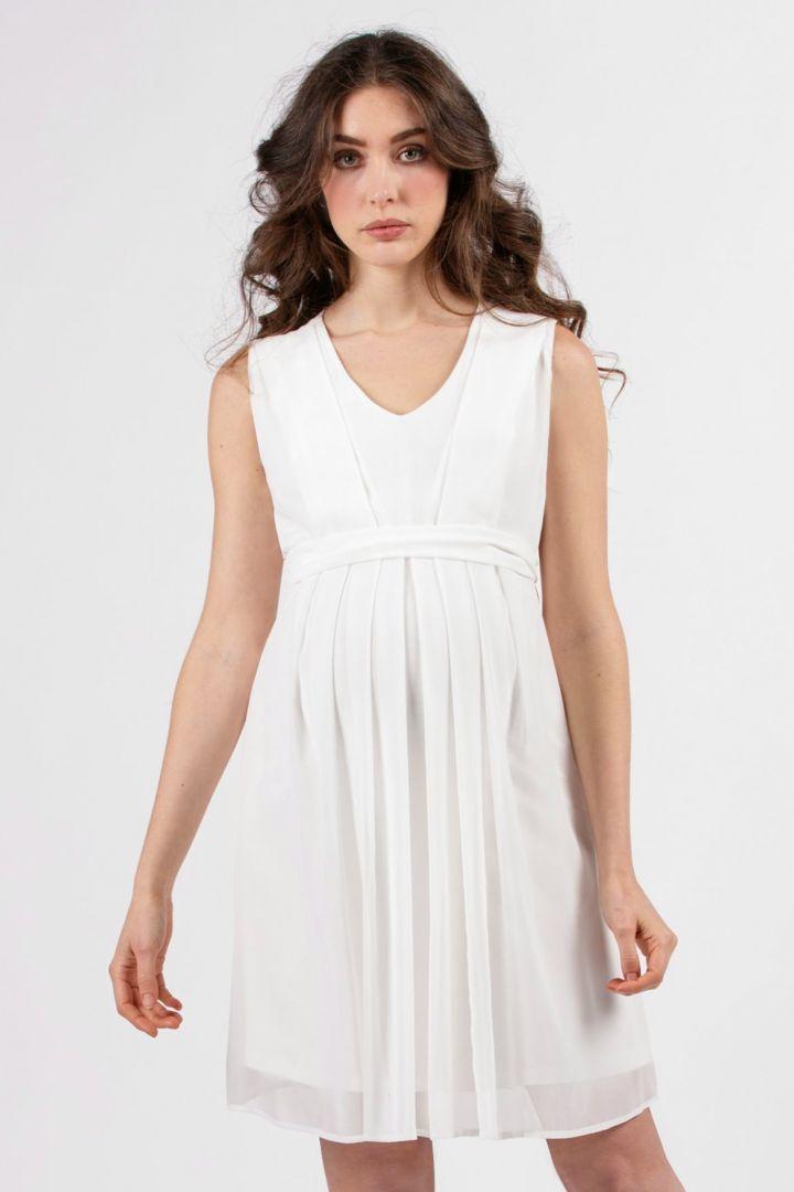 Chiffon Maternity Wedding Dress with Nursing Opening white