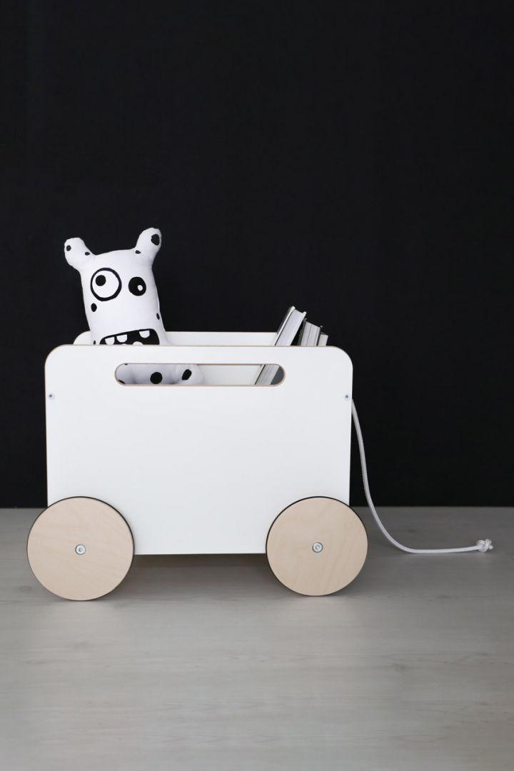 Spielzeugkiste auf Rädern weiß