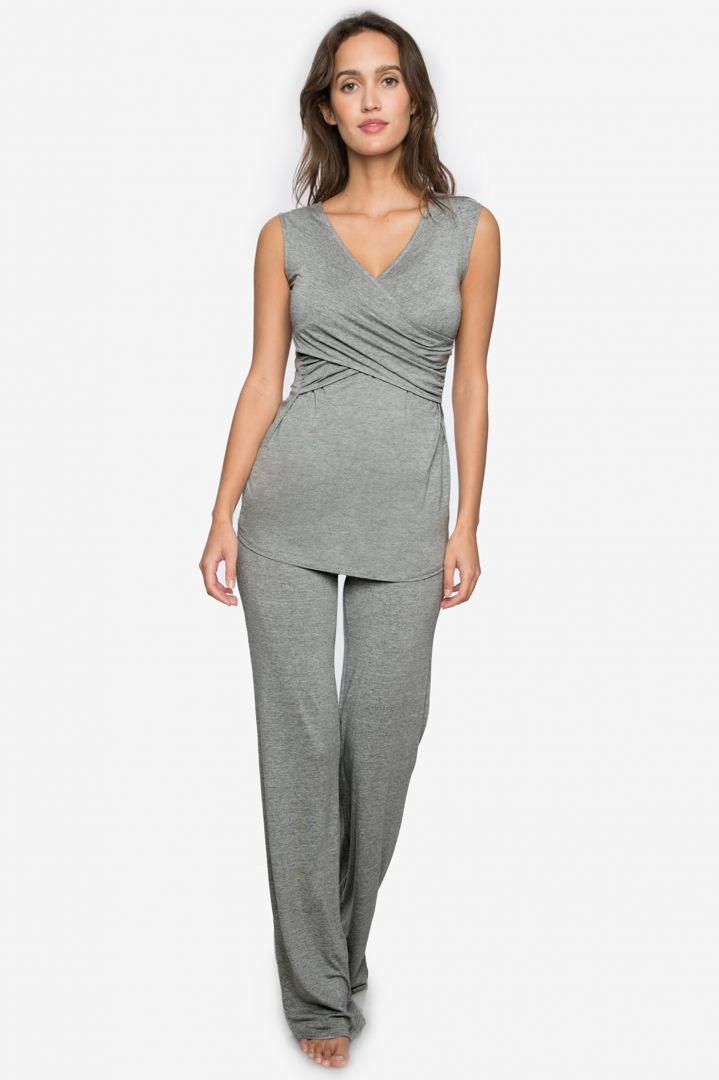3-teiliges Homewear Umstandsmode Set grau