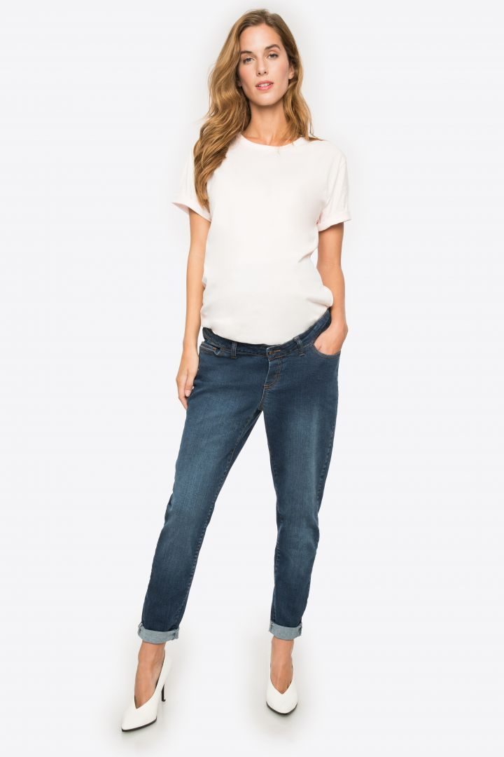 Boyfriend Maternity Jeans with Seamless Band