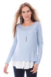 2-in-1 Umstands-Pullover und Bluse mit Still-Öffnung