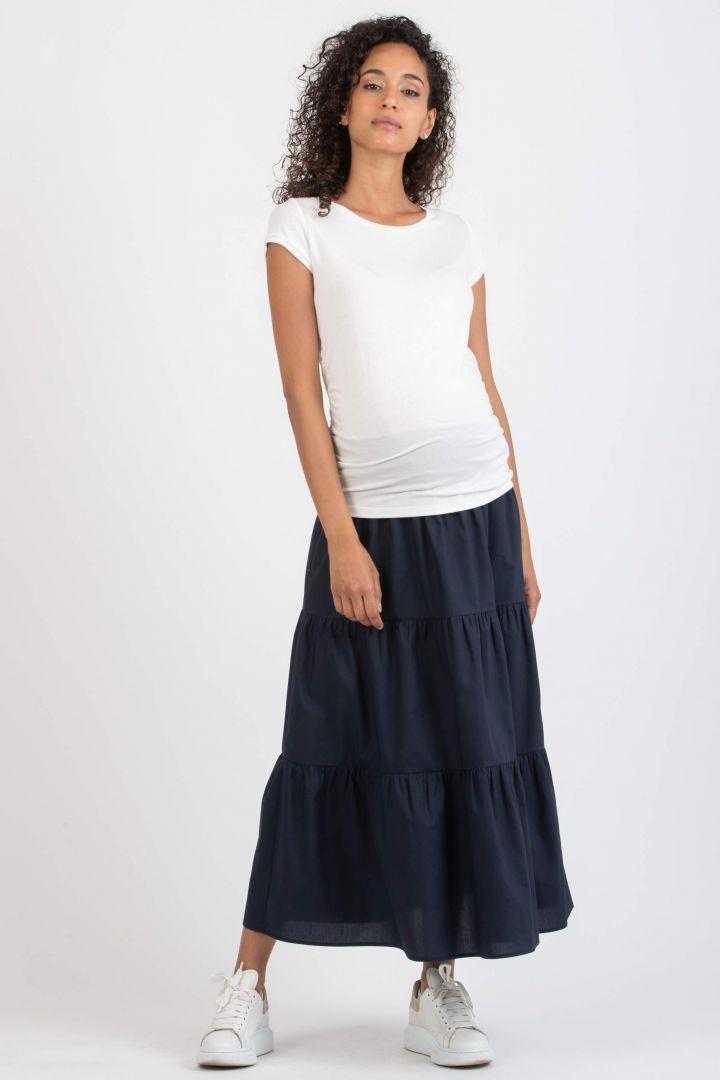 Maxi Maternity Skirt with Flounces