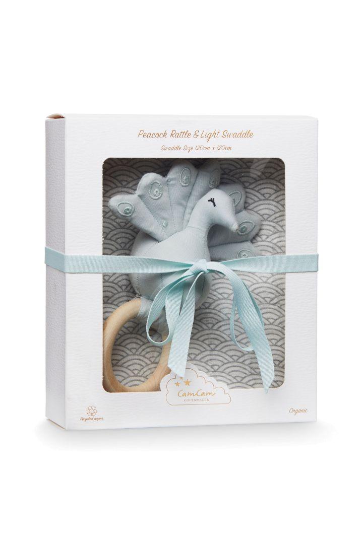 Geschenkebox Puck- und Spucktuch und Rassel grau