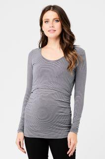 Stripe Umstands- und Stillshirt grau-weiß